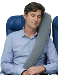 Inflatable Travel Pillow - Lean to Sleep & Rolls to Small - Grey Color - Ship accross Canada