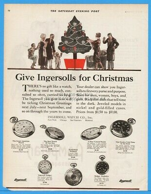 1922 Ingersoll Yankee Midget Radiolite Radium Pocket Watches Christmas Ad