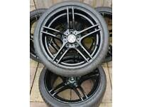 "Bmw 3 series Msport 19"" alloy wheels - style 313 - LCI - Staggered - 5 x 120 - black - genuine"