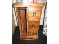 Solid Mango Wood CD Holder Small Cabinet Music CD Storage Ex Display NEW