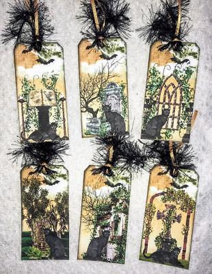 Set of 6 Hang Tags~Halloween Gothic Black Cats~Gift Tags~Scrapbooks~Card's~#75R (Halloween 75)