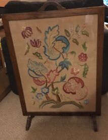 Decorative Vintage Embroidered Firescreen
