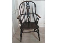 Antique wheel back carver chair
