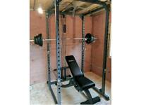 Bodymax power rack & bench with weights