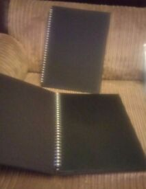 2 hard cover black spiral bound 12x17 inch, 40 pg, scrapbooks. NEW.