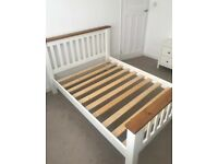 Standard double bed frame made from solid oak. White and oak finish. Selling due to redecorating. for sale  Woodthorpe, Nottinghamshire