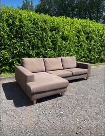 FREE DELIVERY 🚚 DFS BROWN FABRIC CORNER SOFA GOOD CONDITION