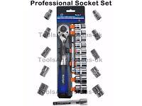 "NEW - 1/2""dr Drive Socket Set 72-Tooth Ratchet 10mm-24mm Sockets & Extension Bar 12pc"