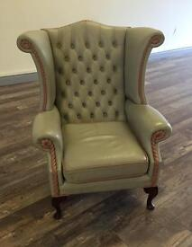 Light grey & pink wingback Chesterfield chair