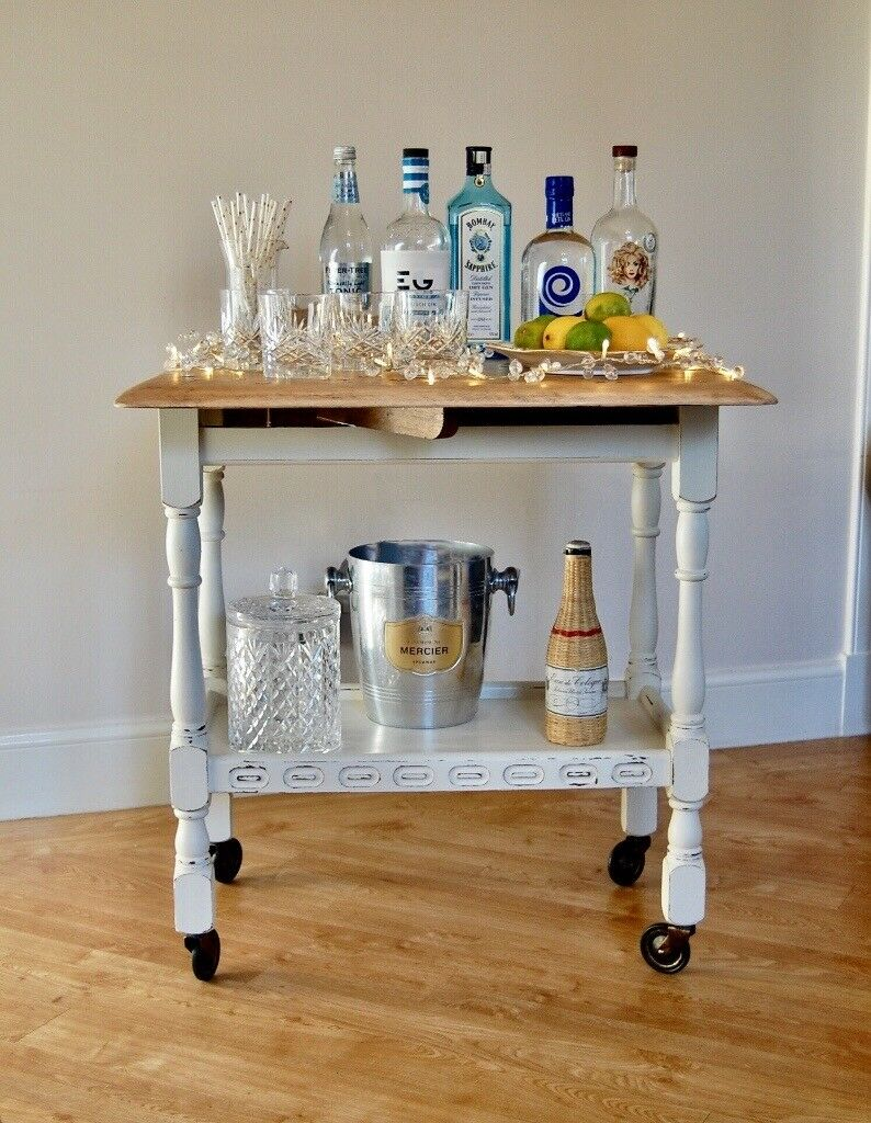 Priory Style Oak Drop Leaf, Two Tier Drinks Trolley Hand Painted