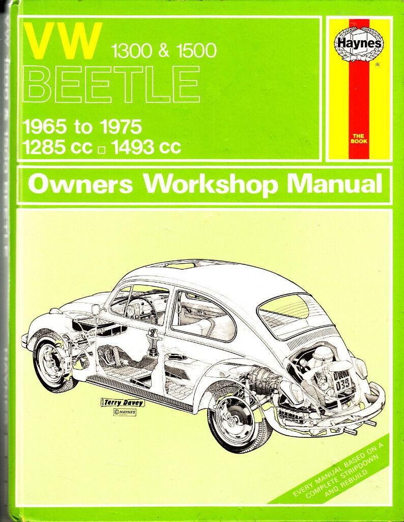 HAYNES VOLKSWAGEN VW BEETLE OWNERS WORKSHOP MANUAL 1300 & 1500 1965 - 1975