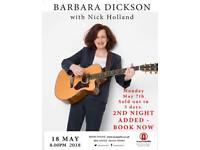 Two tickets for Barbra Dickson at the Acapella Studio