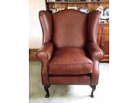 NEW Laura Ashley Denbigh Vintage Brown Leather Wing Chair Armchair RRP £1250