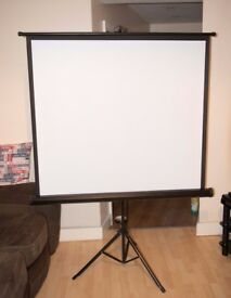 Portable HD Tripod Projection Screen Matte 125x 125cm Pull Down Projector Cinema