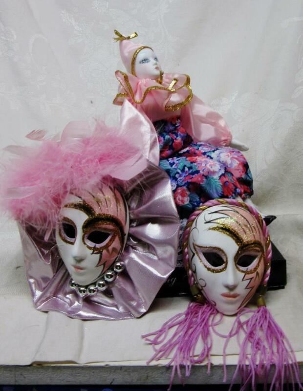 Vintage Porcelain PINK HARLEQUIN MUSICAL Clown  DOLL on PILLOW w  2 MASKS