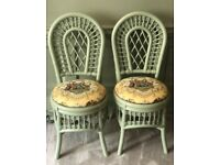 4 Vintage upcycled bamboo green chairs chinoiserie fabric patio orangery