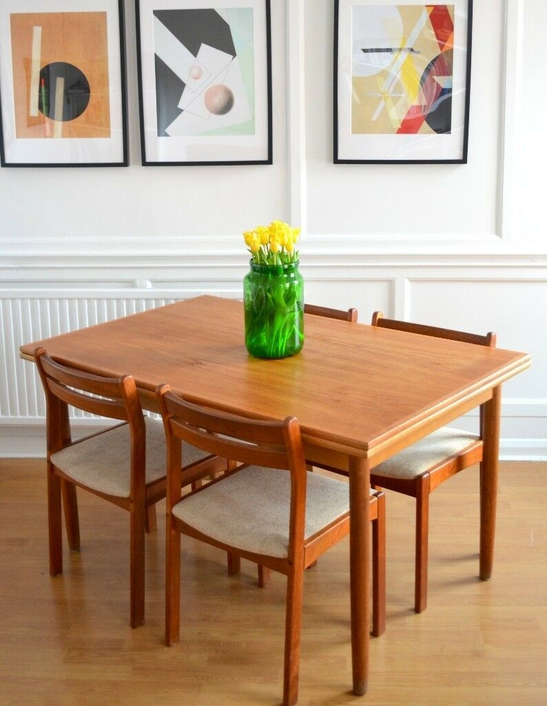 Vintage Midcentury Danish Extending Teak Table And Chairs - Teak table and 4 chairs