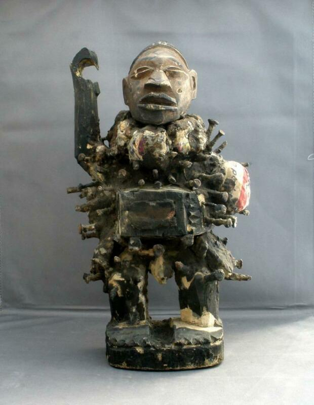 Vintage African 19th Century Carved Wood  Male FETISH Sculpture NKONDI Zaire