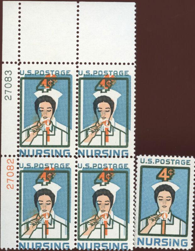 "#1189 ""nursing"" Major Color Shift Plate Block Of 4 Bn3134"