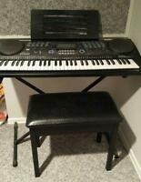 Radio Shack Digital Keyboard, Stand, Storage Bench