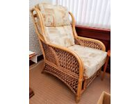 CANE CONSERVATORY SUITE COMPRISING TWO SEATER SOFA AND TWO CHAIRS