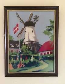 Scandinavian Framed Tapestry Picture