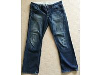 GREAT PAIR FCUK FRENCH CONNECTION DENIM 72 MEN'S STRAIGHT CUT DESIGNER JEANS DARK BLUE 36W 32L VGC