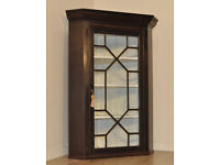 Attractive Antique Victorian Mahogany Astral Corner Bookcase Display Cabinet