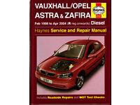 HAYNES VAUXHALL/OPEL ASTRA & ZAFIRA SERVICE & REPAIR MANUAL 1998 - 2004 DIESEL