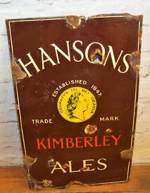Hanson Kimberley ale enamel sign brewery pub vintage antique retro metal advertising
