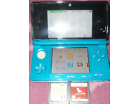 Nintendo 3DS Aqua GreenConsole With Case & 2 DS Games