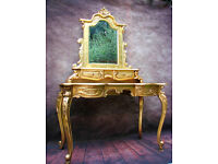 Gold Louis French Style Rococo Dressing Table with Mirror