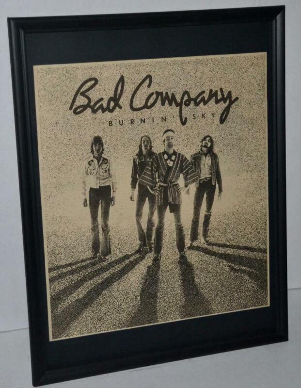 BAD COMPANY 1977 BURNIN SKY PROMOTIONAL FRAMED POSTER / AD