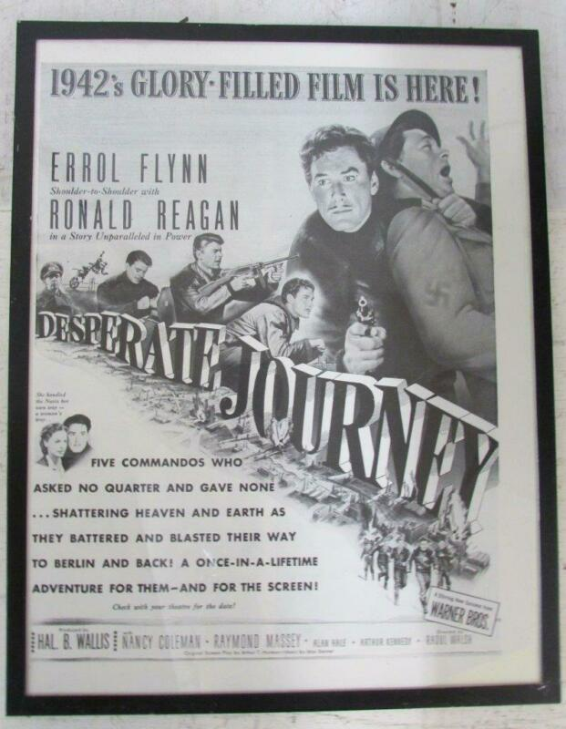 1942 FRAMED NEWSPAPER AD for DESPERATE JOURNEY Errol Flynn Ronald Reagan ~WW
