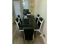 BRAND NEW EXTENDABLE GLASS DINING TABLE SETS WITH FAUX LEATHER CHAIR OPTIONS