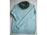 M&S size 10 Sea Green long sleeve round neck jumper £3.50/coordinating handmade scarf £2.50.£5 both
