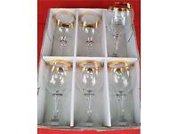 Gold Trimmed Wine Glasses Set of 6