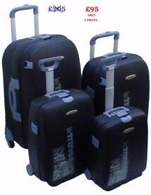 Chiba-Nari Japan Brand-New-In-Box x4pcs Hard Trolley Suitcases - Spinning wheels + Keys+Combi-Locks