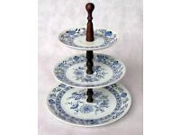 NEW 3 Tier CAKE STAND. Cupcake Display Round Ceramic Plates. Blue & White. Wedding, Party. 30cm tall