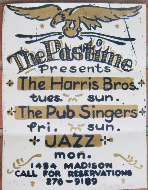 "The Pastime 1962 Flyer Signed Artist John Mcintire Memphis TN 8.5x11"" Jazz Print"