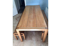 Habitat Radius Dining Table and matching x2 benches - £470 for all 3 items