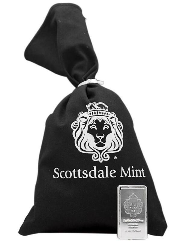 10 oz Scottsdale STACKER® .999 Silver Bar w/ Black Canvas Bag #A182
