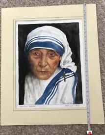 Mother Teresa signed watercolour painting