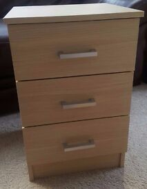 Light Oak Effect Bedside Table with 3 Drawers