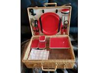 Picnic basket with place setting for 4