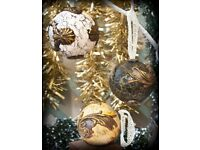 Set of 3 Large 10cm Painted Christmas baubles.