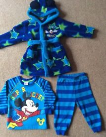 Disney Mickey Mouse Dressing Gown & PJs 9 - 12 Months - Excellent. Condition - Bargain £4
