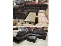 Brown leather corner sofa & foot stool