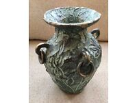 LARGE CLAY VASE. TEXTURED, METALLIC PAINT, EARTHY, RINGS, POTTERY ORNAMENT