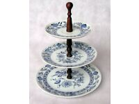 3 Tier CAKE STAND. Cupcake Display. Round Ceramic Plates. Blue & White. Wedding, Party. 30cm tall
